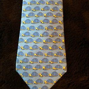 Hermès vintage tie. Jockey caps. Blue silk France